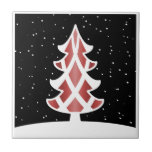 Christmas Tree Ribbons Snowy Sky Red Small Square Tile