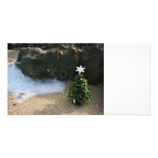 Christmas Tree Right Side Waves Rocks Picture Card
