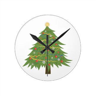 Christmas Tree Round Clock