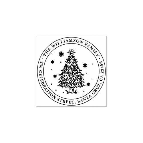 Christmas Tree Round Family Name Return Address Rubber Stamp