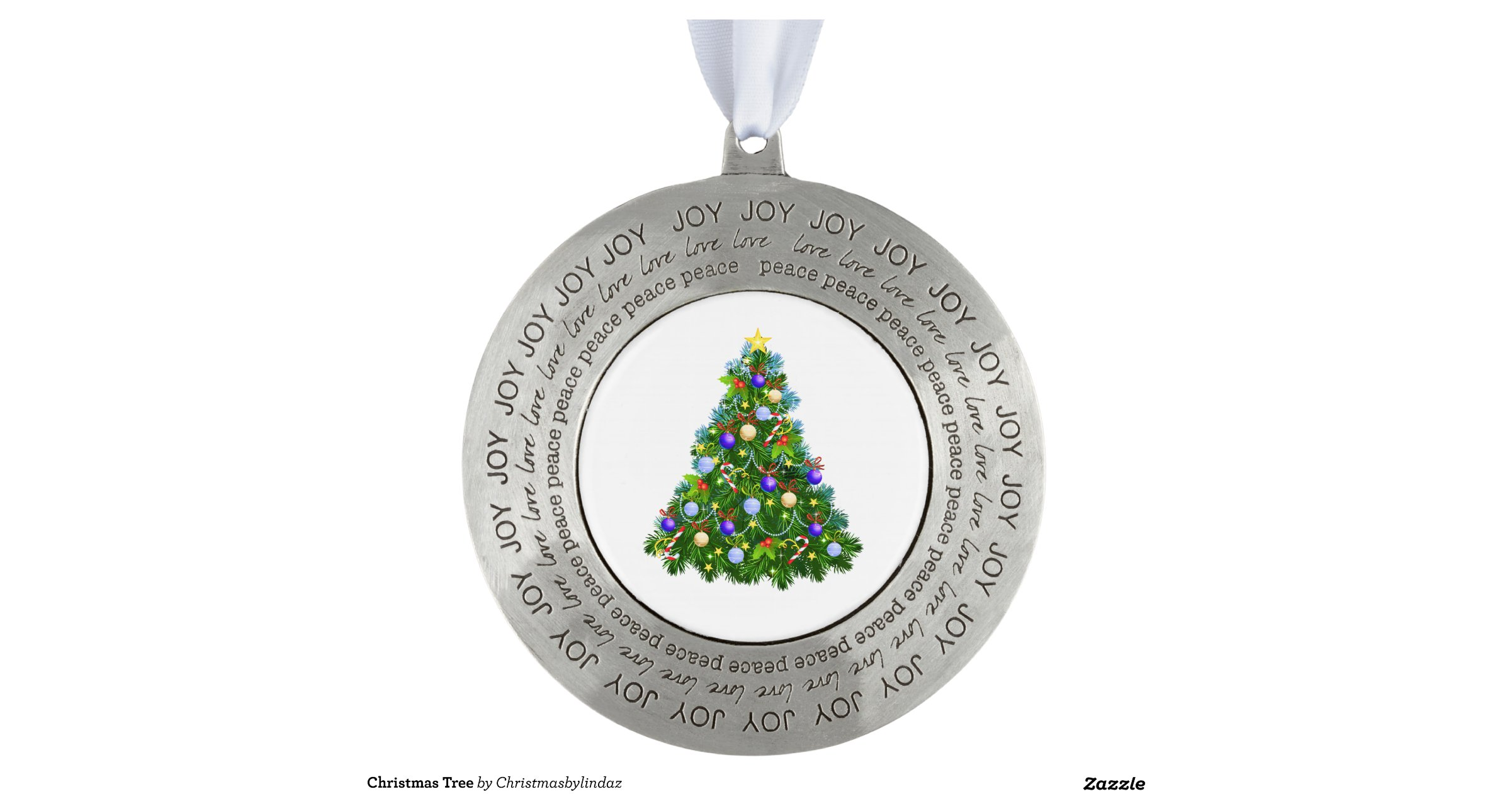 Christmas tree round pewter ornament zazzle