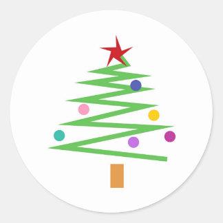 Christmas Tree Round Stickers