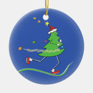 Christmas Tree Runner Double-Sided Ceramic Round Christmas Ornament