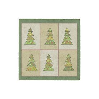 Christmas Tree Sampler Quilt Stone Magnet