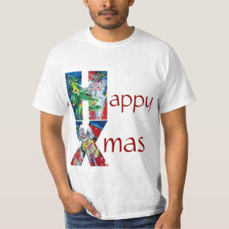 CHRISTMAS TREE SANTA  PLAYING VIOLIN XMAS MONOGRAM T-Shirt