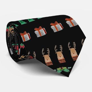 Christmas Tree Santa Presents Reindeer Green Red Neck Tie