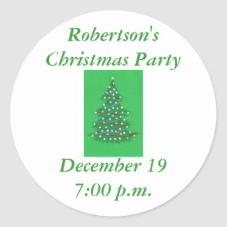 Christmas tree, save the date party stickers