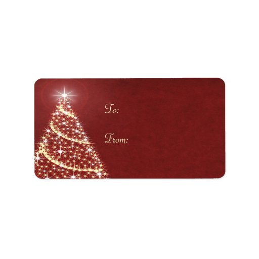 Christmas tree shimmer personalized address labels zazzle