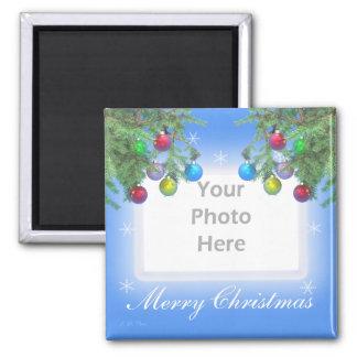 Christmas Tree Shine on Blue (photo frame) Magnet