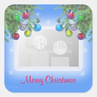 Christmas Tree Shine on Blue (photo frame) Square Sticker
