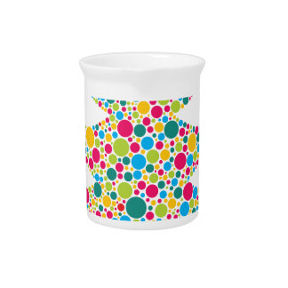 Christmas Tree Silhouette with Colorful Dots Drink Pitcher
