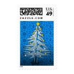 Christmas Tree Silver Blue Postage 3