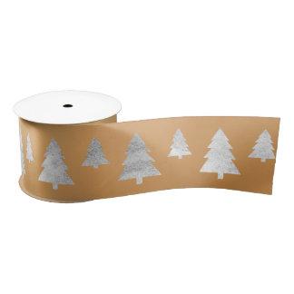 Christmas Tree Silver Yellow Mustard Gold Satin Ribbon