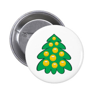 Christmas Tree  Smiley Face 2 Inch Round Button