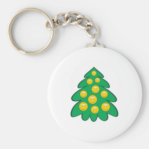 Christmas Tree  Smiley Face Basic Round Button Keychain