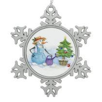 Christmas tree snoman gardener snowflake pewter christmas ornament