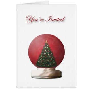Christmas Tree Snow Globe Invitation Card