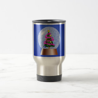 Christmas Tree Snow Globe Travel Mug