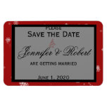 Christmas Tree Snowflake Red Wedding Save the Date Rectangle Magnets