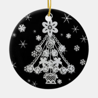 Christmas Tree & Snowflakes Ceramic Ornament