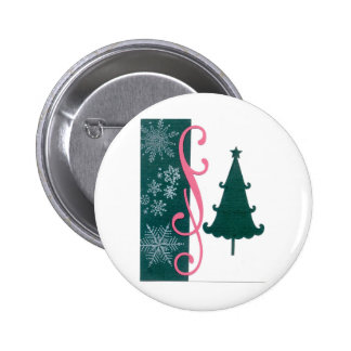 Christmas Tree Snowflakes Fancy Scroll Work Craft Pinback Button