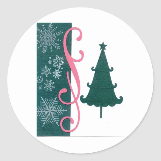 Christmas Tree Snowflakes Fancy Scroll Work Craft Classic Round Sticker
