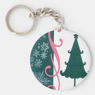 Christmas Tree Snowflakes Fancy Scroll Work Craft Keychain