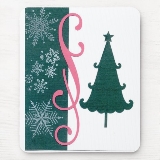 Christmas Tree Snowflakes Fancy Scroll Work Craft Mousepad