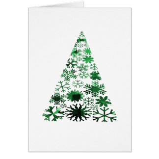 Christmas Tree Snowflakes Green Mottled Graphic Cards