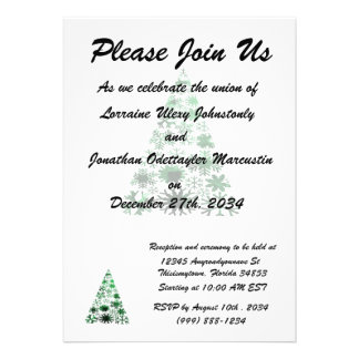 Christmas Tree Snowflakes Green Mottled Graphic Personalized Invites