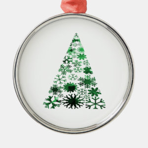 Christmas Tree Snowflakes Green Mottled Graphic Ornament