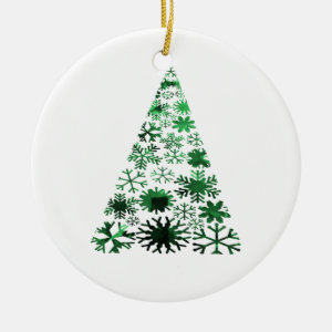 Christmas Tree Snowflakes Green Mottled Graphic Ornaments