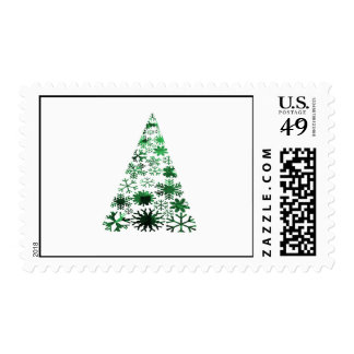 Christmas Tree Snowflakes Green Mottled Graphic Stamps