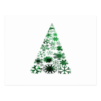 Christmas Tree Snowflakes Green Mottled Graphic Postcard