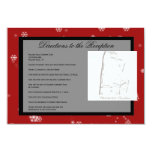 """Christmas Tree Snowflakes Red Wedding Directions 3.5"""" X 5"""" Invitation Card"""