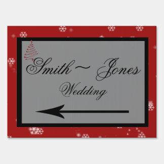 Christmas Tree Snowflakes Wedding Direction Sign