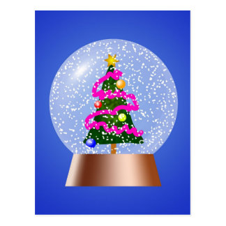 Christmas Tree Snowglobe Draped in Pink Tinsel Postcard