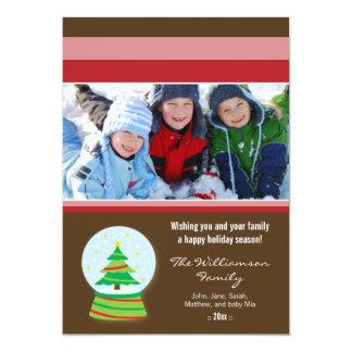 Christmas Tree Snowglobe Family Holiday Card