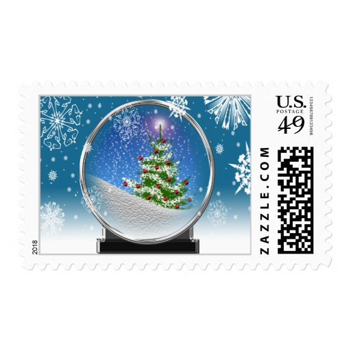 Christmas Tree Snowglobe USPS Holiday Stamp 2014