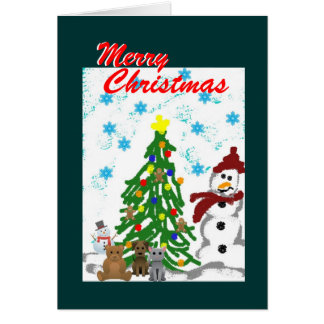 Christmas Tree, Snowman and Toys Card