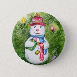 Christmas Tree Snowman Button