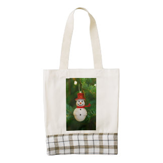 Christmas tree snowman decoration zazzle HEART tote bag
