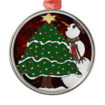 Christmas Tree Snowman Surprise Art Print Metal Ornament