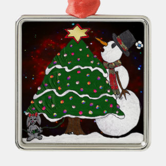 Christmas Tree Snowman Surprise Art Print Metal Ornament