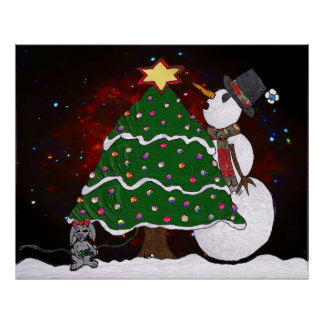 Christmas Tree Snowman Surprise Art Print Poster