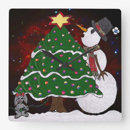 Christmas Tree Snowman Surprise Art Print Square Wallclocks