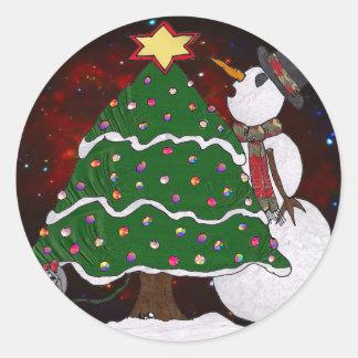 Christmas Tree Snowman Surprise Art Print Sticker
