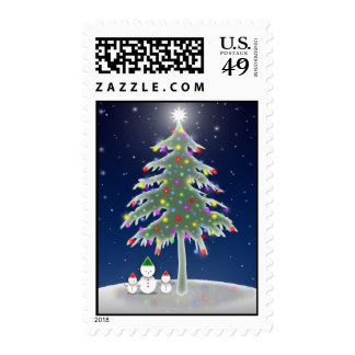 Christmas Tree Snowmen Postage Stamps