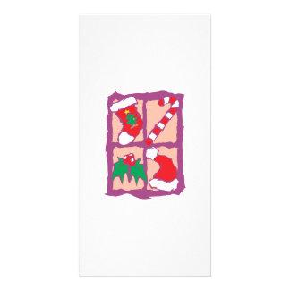 Christmas Tree Sock Candy Cane Mistletoe Santa Hat Photo Greeting Card
