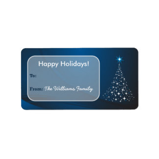 Christmas Tree Sparkle Holiday Gift Tag (blue) Custom Address Labels